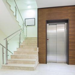 Elevator and stairs in modern building