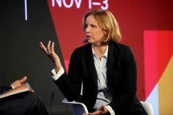 NEW YORK, NY - NOVEMBER 01:  Former Chief Technology Officer of the United States Megan Smith speaks onstage at the ONWARD17 Conference- Day 1 on November 1, 2017 in New York City.  (Photo by Brad Barket/Getty Images for ONWARD17)