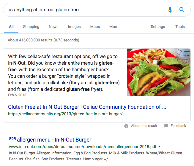 Google rich snippet for gluten-free menu items