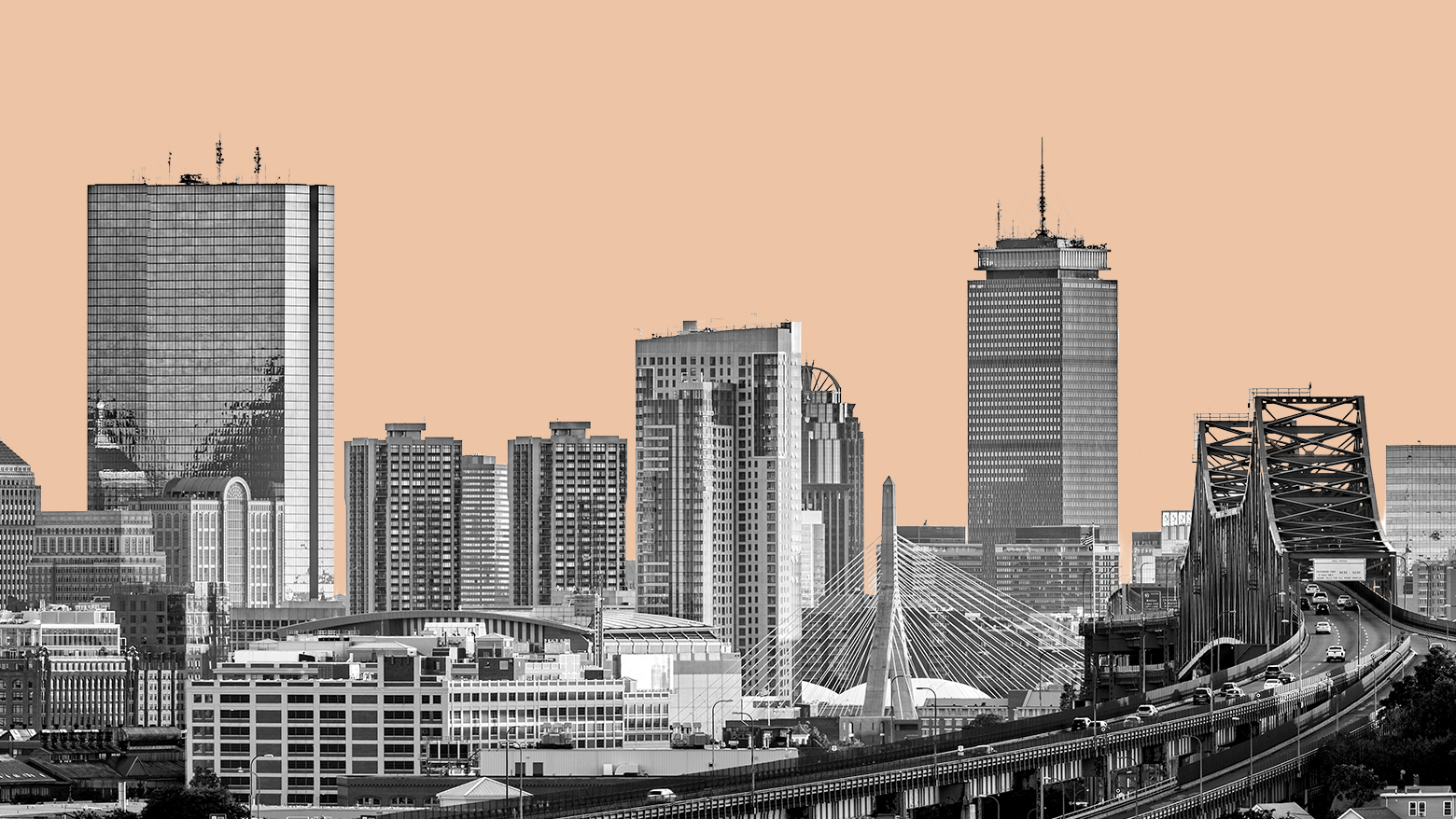 Boston skyline in black and white with peach background