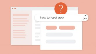 """Search bar with query that reads """"How to reset app?"""""""