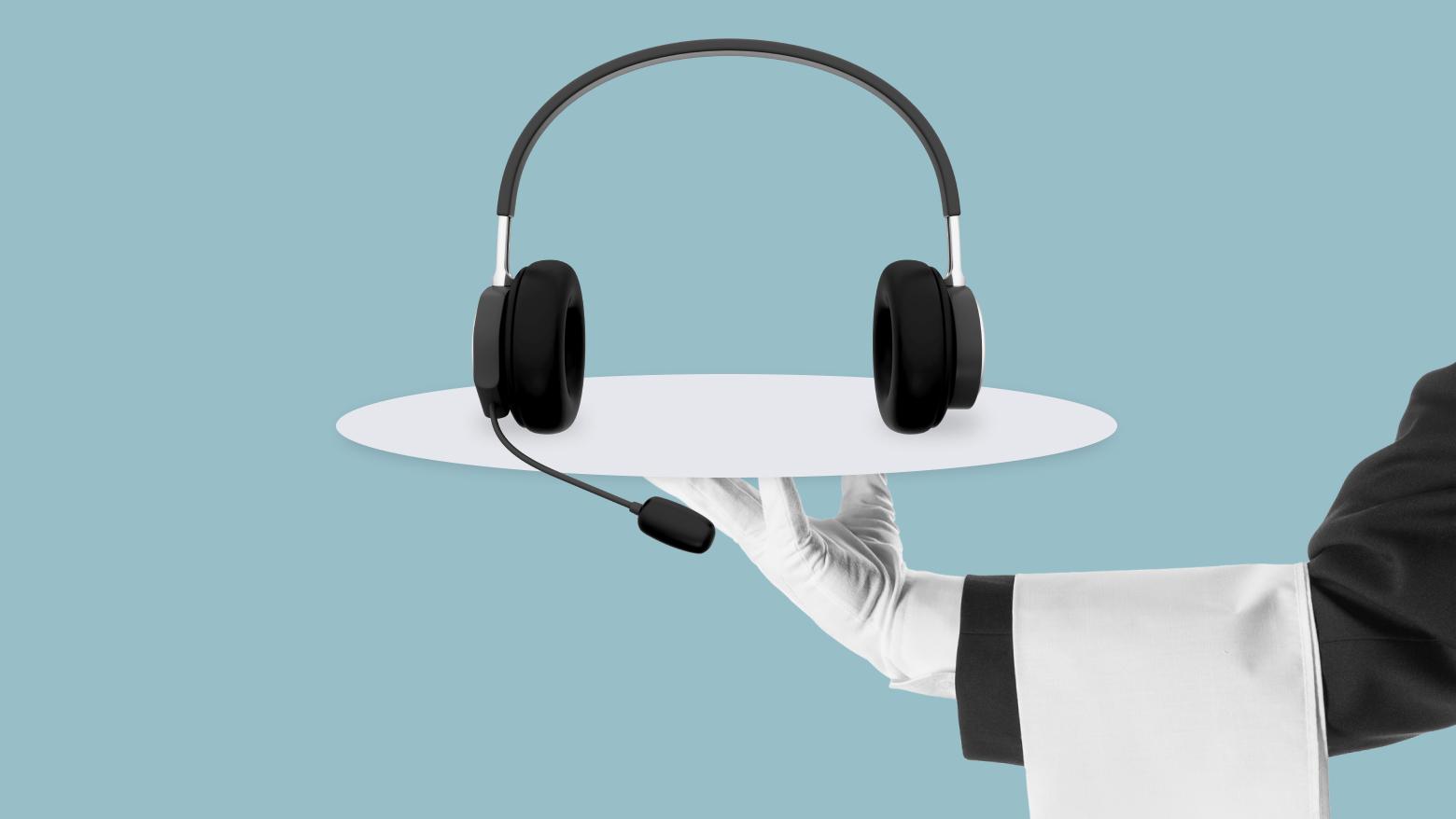 headset on a platter
