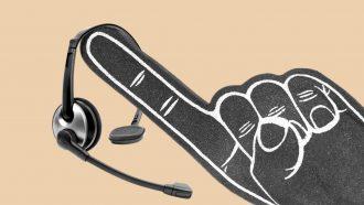 Headset on foam finger