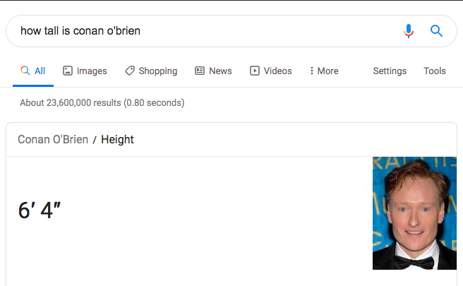 Beispiel für eine kurze direkte Antwort in den Suchergebnissen